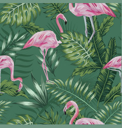 pink flamingo green jungle seamless vector image