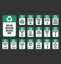 recycle stickers set vector image