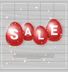 red easter eggs with sale tags hanging on template vector image