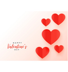 red origami hearts background for valentines day vector image