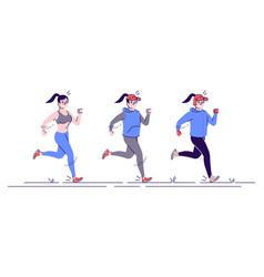 Running woman flat sports training all year vector
