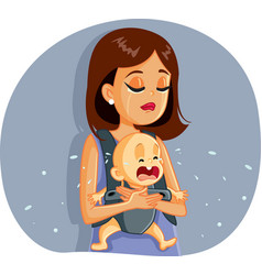 sad mother and bacrying together vector image