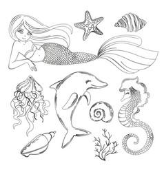 Sea life monochrome cartoon travel tropical vector