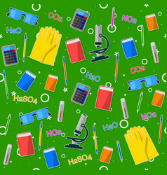 Seamless pattern on the chemistry school theme vector