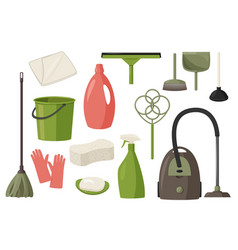 Set cleaning tools flat design style vector