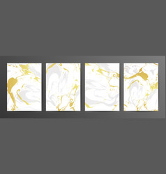 set creative gray and gold marble cards vector image