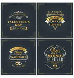set happy valentines day vintage retro golden vector image