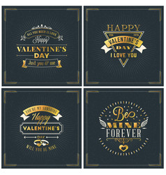 Set of happy valentines day vintage retro golden vector