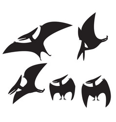 Set of pterodactyl silhouette vector