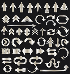 Set of silver arrow shapes isolated on black vector