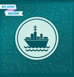 ship boat icon on a green background with arrows vector image