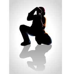 Silhouette of a photographer vector