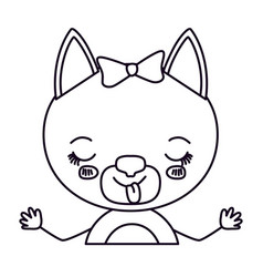 Sketch silhouette half body of cute female cat vector