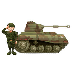 Soldier and military tank vector
