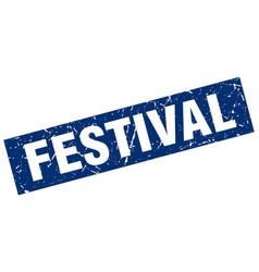 square grunge blue festival stamp vector image