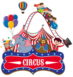 sticker template for circus with ring master and vector image