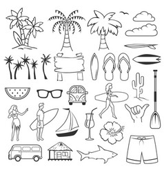 summer hand drawn symbols and objects set vector image