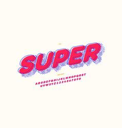 super comic hero font 3d bold style vector image