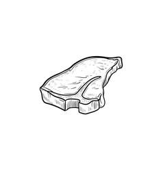 T-bone beef steak hand drawn sketch icon vector