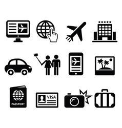 Travel and tourism booking holidays icons set vector image