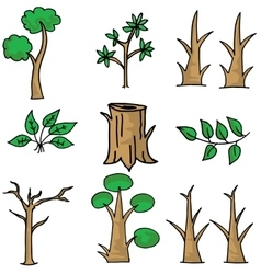 Tree set doodles vector