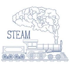Vintage steam train engrave vector
