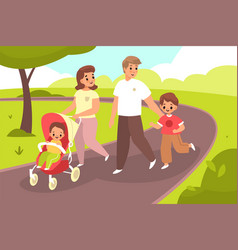 Walking with bahappy family couple in vector