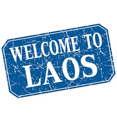 Welcome to Laos blue square grunge stamp vector