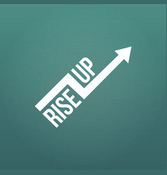 White arrow with rise up sign financial sign vector