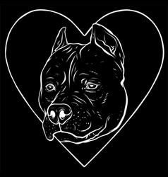 White silhouette pitbull head dog in heart vector