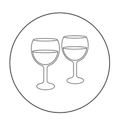 Wine glasses icon in outline style isolated on vector