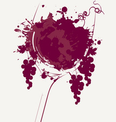 Wine list with wine glass grapes and grapevine vector