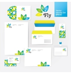 Yoga wellness flower corporate identity style set vector