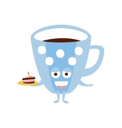 Blue Coffee Cup With Piece Of Cake Children vector image vector image
