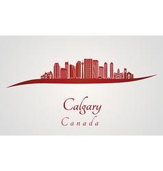 Calgary v2 skyline in red vector