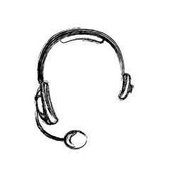 monochrome sketch of hands free headset icon vector image vector image