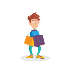 young man holding lots of paper shopping bags vector image vector image
