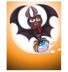 Cute Cartoon Halloween bat flying vector image vector image