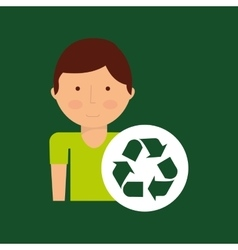 environment icon boy with recycle symbol vector image