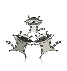 Funny raccoon family for your design vector image