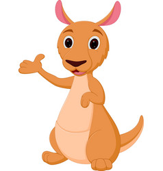 kangaroo cartoon presenting vector image