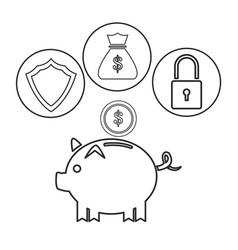 piggy dollar coin security bag money outline vector image