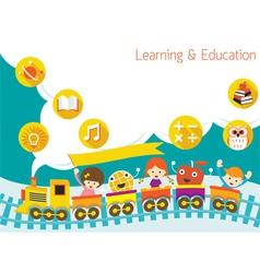 School Train Kids Text Balloon Background vector image vector image
