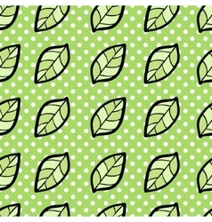 Seamless pattern with leaf on dotted background vector image vector image