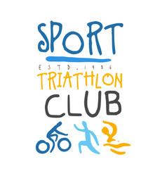 sport triathlon club logo colorful hand drawn vector image