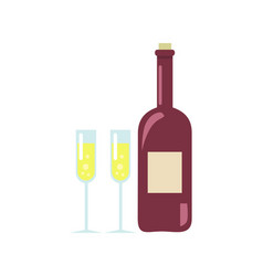 unopened wine and two glasses vector image vector image
