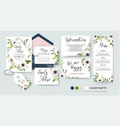 Wedding invite menu rsvp thank you label save vector