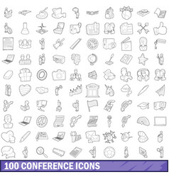 100 seminar icons set outline style vector image vector image