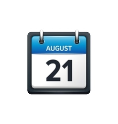 August 21 Calendar icon flat vector image