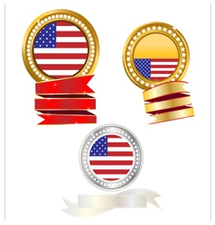Banner gold and silver flag American vector image vector image